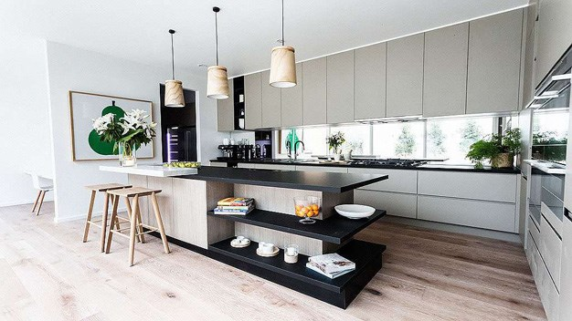 Darren and Dee's kitchen from the sixth house that all the couples contributed to. The couple took home $10,000 for their property which had a $1,370,000 reserve. PHOTO: Channel 9.