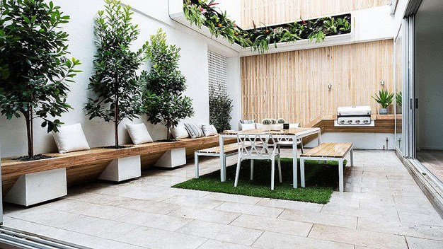 Max and Karstan's outdoor living space from the sixth house that all the couples contributed. The pair sadly took home a low $40,000 for their property which had a whopping $1,670,000 reserve. PHOTO: Channel 9.