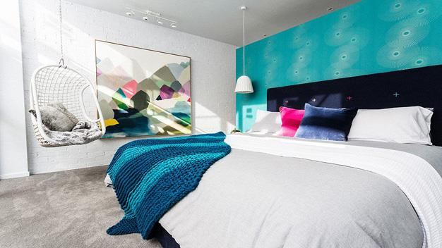 Michael and Carlene's bedroom from the sixth house that all the couples contributed to. Michael and Carelene made a lowly profit of $10,000 above their $1,380,000 reserve. PHOTO: Channel 9.