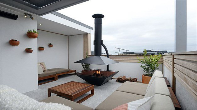 Shannon and Simon's rooftop terrace from the sixth house that all the couples contributed to. As the winners were Simon and Shannon, who made a $335,000 profit off their apartment, which had a $1.5m reserve, also took out the $100k in prize money taking their total winnings to $435,000 which they will split between them. PHOTO: Channel 9.