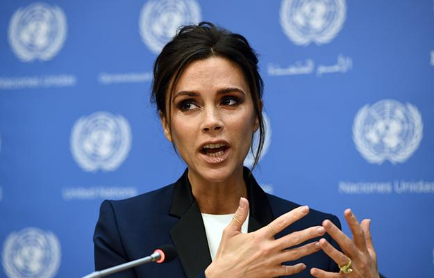 Victoria Beckham speaks to the audience at the UN headquarters in New York.