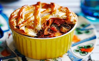 Eggplant and mushroom pasta pot pie