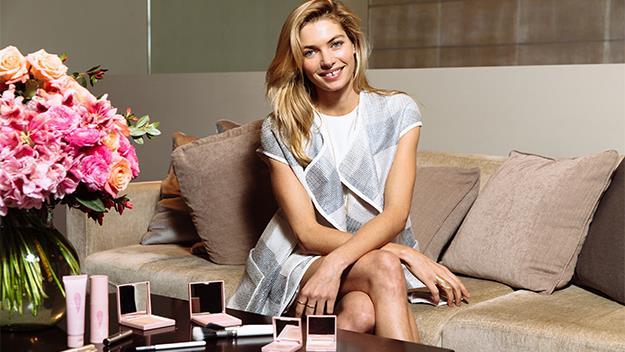 Jess Hart with her LUMA Cosmetics range