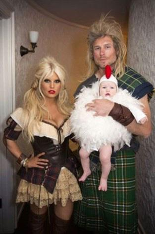 Jessica Simpson her husband Eric Johnson and their daughter dressed as some sort of viking family for Halloween back in 2012.