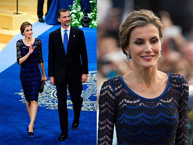 Looking every inch a queen, Letizia wore a stunning black and blue lace dress to the annual Prince of Asturias awards.