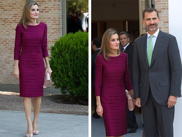 Wearing a layered purple dress, Queen Letizia attended the opening of the University Year at the Fabrica de Armas Campus with her husband.