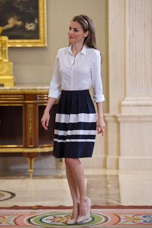 Letizia opted for a white shirt and flared skirt for an event at Zarzuela Palace.