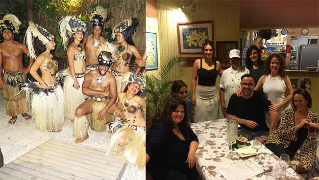 The dancers from Te Vara Nui R and (right) the AWW crew at dinner with Chef Tupuna.