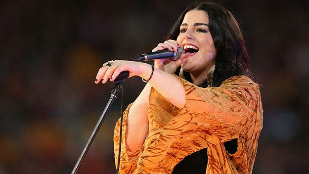 Karise Eden performs during game three of the 2012 State of Origin series between the QLD and NSW in Brisbane.