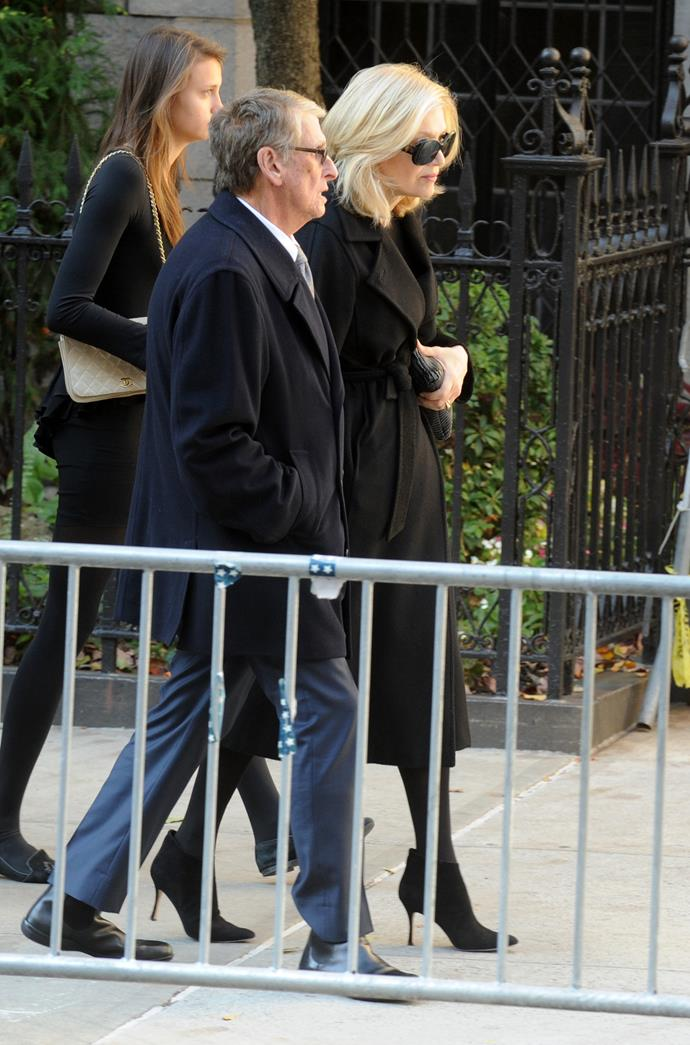 Mike Nichols and Diane Sawyer at the funeral service of Oscar de la Renta at the Church of St. Ignatius Loyola on Park Avenue in New York City on November 3, 2014. Picture: Dennis Van Tine/ABACAUSA.COM
