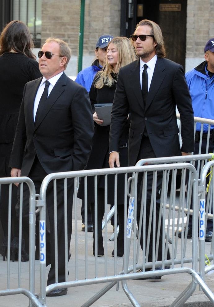 Michael Kors and Lance LePere at the funeral service. Picture: Dennis Van Tine/ABACAUSA.COM