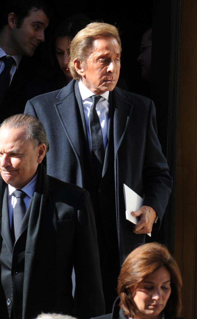 Valentino Garavani attends the funeral service of Oscar de la Renta. Picture: Dennis Van Tine/ABACAUSA.COM