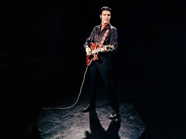 The King, as Elvis was known, will forever be remembered as one of the most influential characters in pop culture. Here he is on stage at his comeback tour in 1968.