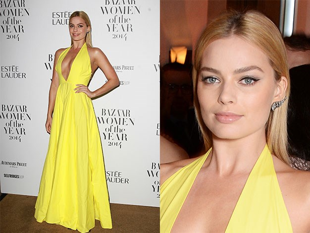 Margot Robbie poses at the Harper's Bazaar Women Of The Year awards 2014 at Claridge's Hotel in London.