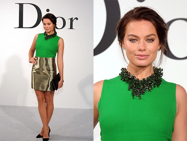The Aussie star looked amazing in green and gold at the Christian Dior Cruise 2015 Show on May 7, 2014 in Brooklyn, New York.