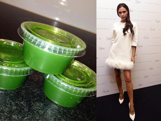 """Start the day with a wheat grass [sic] shot,"" Victoria told her fans on Twitter. Wheatgrass is a powerful health food supplement that is chock-full of highly concentrated vitamins, minerals, chlorophyll and enzymes. Nutritionally, wheatgrass is a complete food that is said to contain 98 of the 102 earth elements."