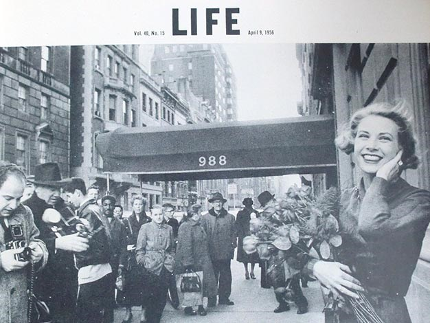 A picture from LIFE magazine, where Grace is greeted by hordes of photographers outside a hotel shortly before her marriage. PHOTO: LIFE Magazine.