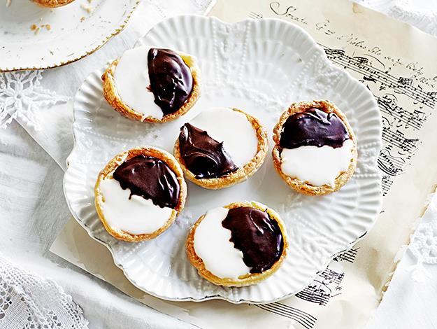 Neenish tarts. Full recipe [**here**](http://www.aww.com.au/food/recipes/2014/11/neenish-tarts/).