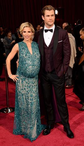 Elsa Pataky was pregnant with the couple's twins, Sasha and Tristan when she and hubby Chris attended the Oscars in March.