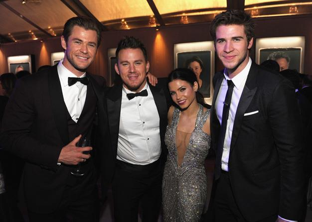 Chris is in cool company at the Vanity Fair Oscar party with brother Liam, Channing Tatum and Jenna Dewan-Tatum.