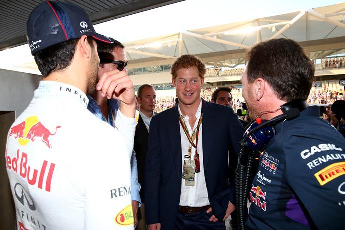 Harry speaks with Australian Daniel Ricciardo and Infiniti Red Bull Racing and Infiniti Red Bull Racing Team Principal Christian Horner.