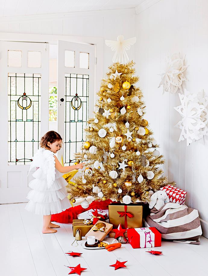 Or you can go down the glamorous route, like The Weekly's champagne gold Christmas tree (from Myer.com.au). Stick to a strict colour palette and dainty decorations for maximum wow factor.