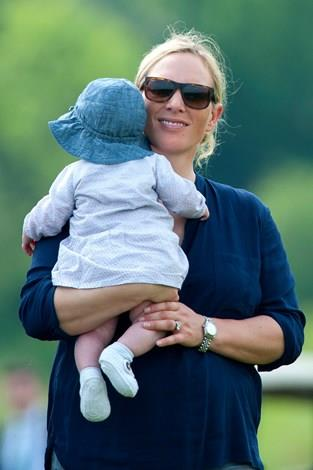 Zara with baby Mia during the Mike Tindall Celebrity Golf Classic event in May this year.