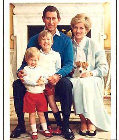 Prince Charles, Princess Diana, Prince Harry and Prince William playing happy families in 1986.