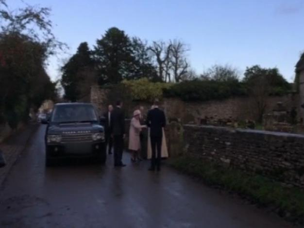 The Queen arrives at the church. Picture: Twitter/itvnews