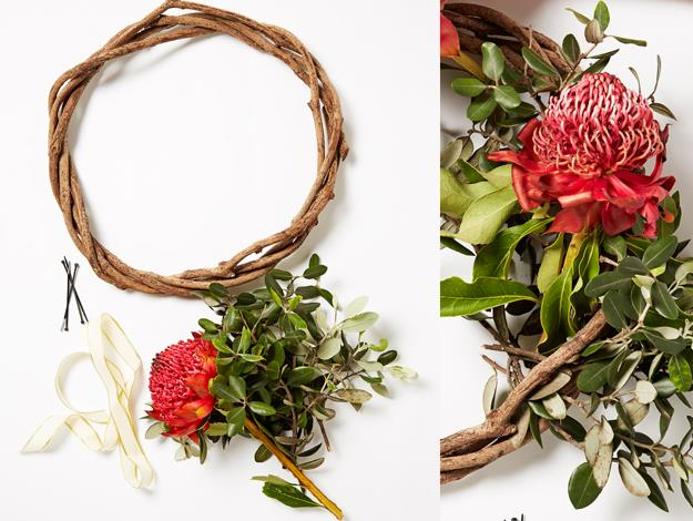 For the wreath, you'll need a wooden or cane wreath and your favourite flowers and greenery.