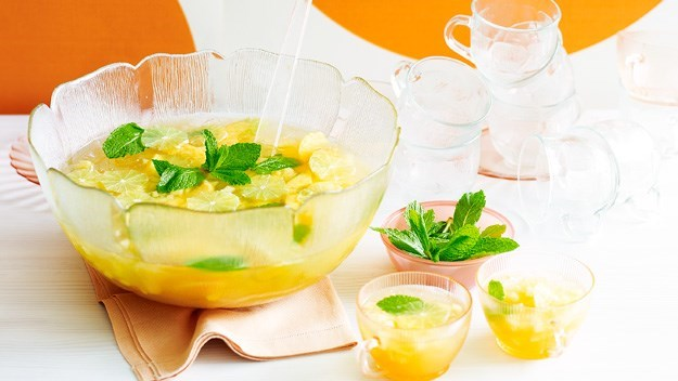 [Lime and mint punch.](http://www.aww.com.au/food/recipes/2011/9/lime-and-mint-punch) <br><br> Zingy and delicious - you'll be feeling refreshed after sipping on this!