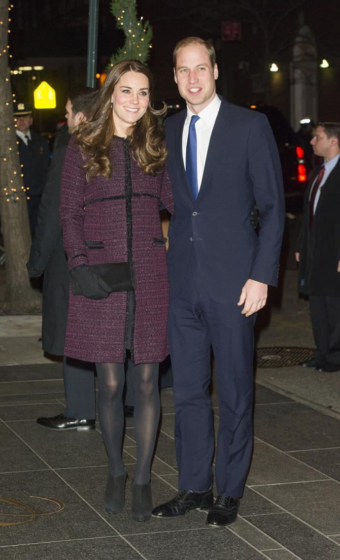 Kate looked chic in a burgundy coat and stockings.