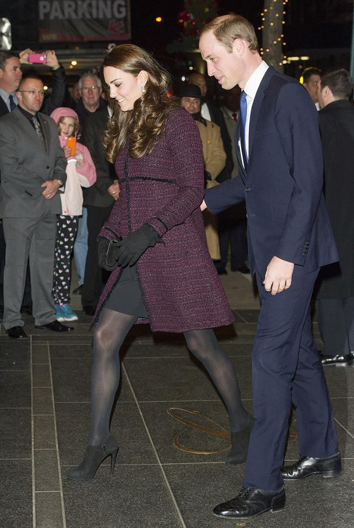 Kate kept her bump under wraps in the cold weather.