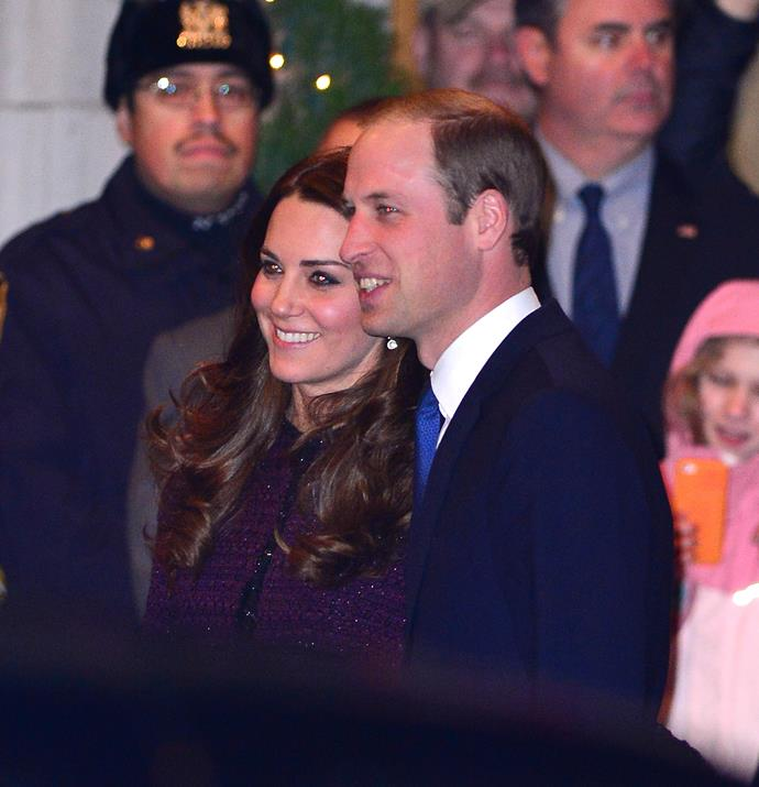 The royal couple were happy to stop and smile for photos.