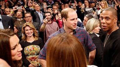 Prince William and Kate Middleton meet Beyoncé and Jay Z at a basketball game