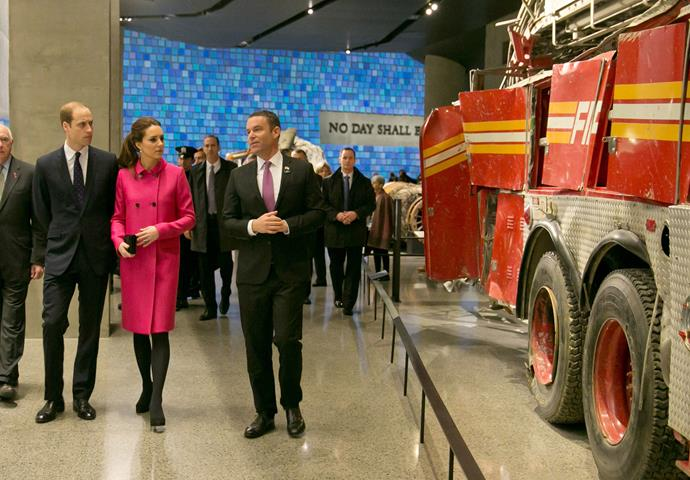 The royal couple view one of the fire trucks that responded to the scene on September 11.