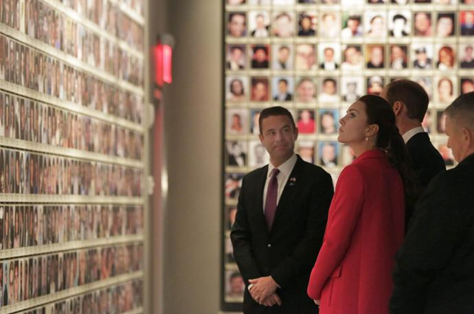 The pair view the heartbreaking victims wall in the memorial.
