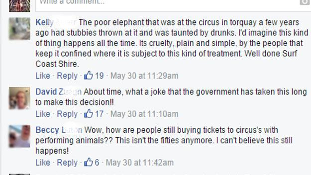 Comments from the RSPCA Facebook page.
