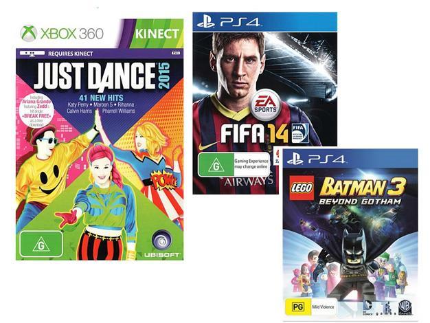 **Video Games** [Just Dance 2016](https://www.bigw.com.au/product/just-dance-2016/p/WCC100000000217992/), $64, [FIFA 16](https://www.bigw.com.au/product/fifa-16/p/WCC100000000223286/), $79, [Minecraft]( https://www.jbhifi.com.au/games-consoles/platforms/ps4/minecraft-playstation-4-edition/582789/), $32.