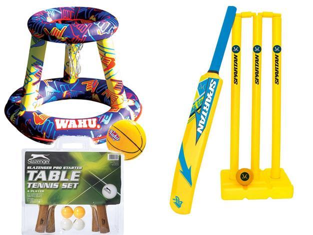 **Get active** [Spartan MC Junior Beach Cricket Kit](http://www.rebelsport.com.au/Product/Spartan-MC-Junior-Beach-Cricket-Kit/36292601), $34.99, [Wahu Pool Party Pool Basketball](http://www.toysrus.com.au/wahu-pool-party-pool-basketball/), $39.99, [Slazenger Pro Starter Table Tennis Set](https://www.bigw.com.au/product/slazenger-pro-starter-table-tennis-set-4-player/p/WCC100000000027990/), $20.
