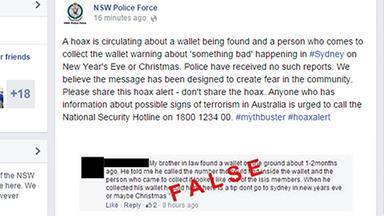 "NSW Police warn of terrorist ""hoax"""