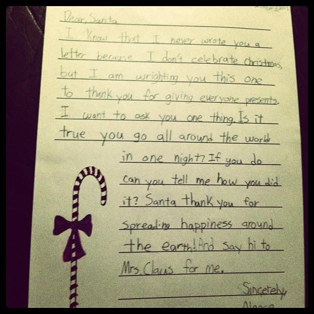 This letter from a Muslim grade-four student went totally viral in 2012 and remains a favourite of its genre. Image via [dailydot.com](http://www.dailydot.com/society/muslim-4th-grader-letter-santa/)