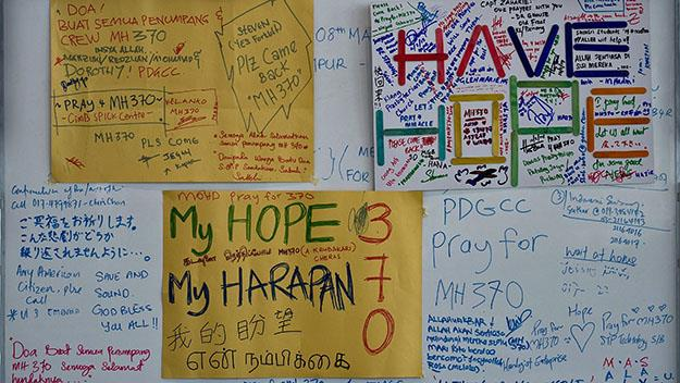 Messages of hope displayed for the MH370 victims when the tragedy was unfolding.