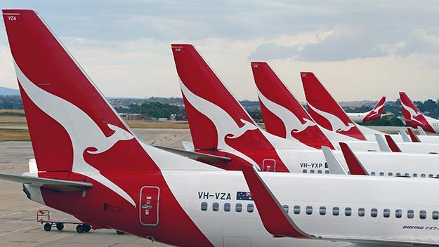 Qantas airplanes at airport