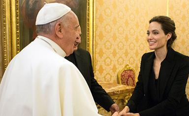 Angelina Jolie meets the Pope Francis after a special screening of Unbroken