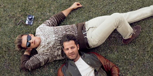 **Banana Republic:** The retailer captured an ordinary couple, Nate Berkus and his fiancé Jeremiah Brent laying on the grass together to promote the season's new line.