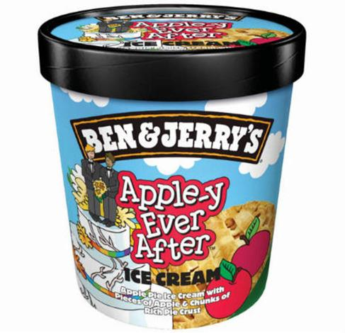 "**Ben & Jerry's:** This popular ice-creamery released a limited edition ""Apple-y Ever After"" flavour which featured an illustration of a wedding cake with a gay couple wearing suits as the topper."