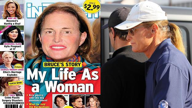 The InTouch cover and a recent photo of Bruce Jenner