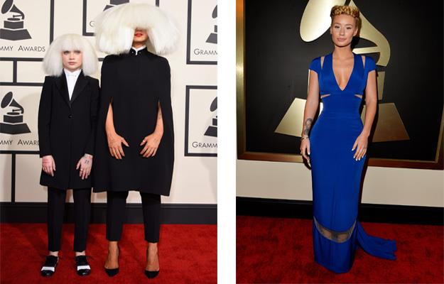 Sia and Iggy Azalea arrive on the red carpet.