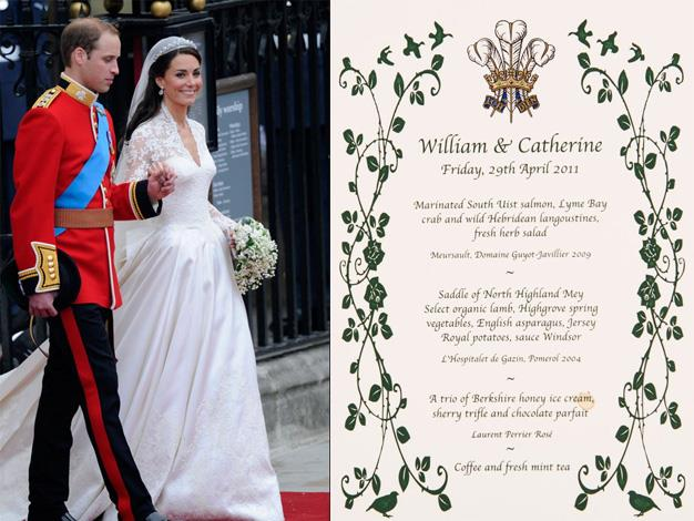 Prince William and the Duchess of Cambridge treated 300 of their nearest and dearest to a lavish selection of marinated salmon, crab, langoustines and organic lamb after their 2011 nuptials which were held in Westminster Abbey.